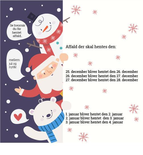 Afhentning af affald til jul og nytår